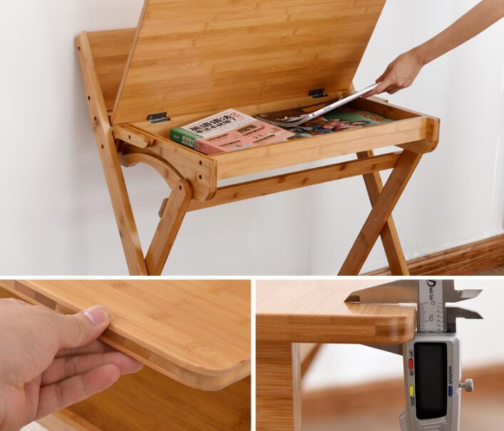 90 * 74 * 71 CM Bambuskrivbord Skrivbord Fällbart studiebord - Möbel - Foto 5