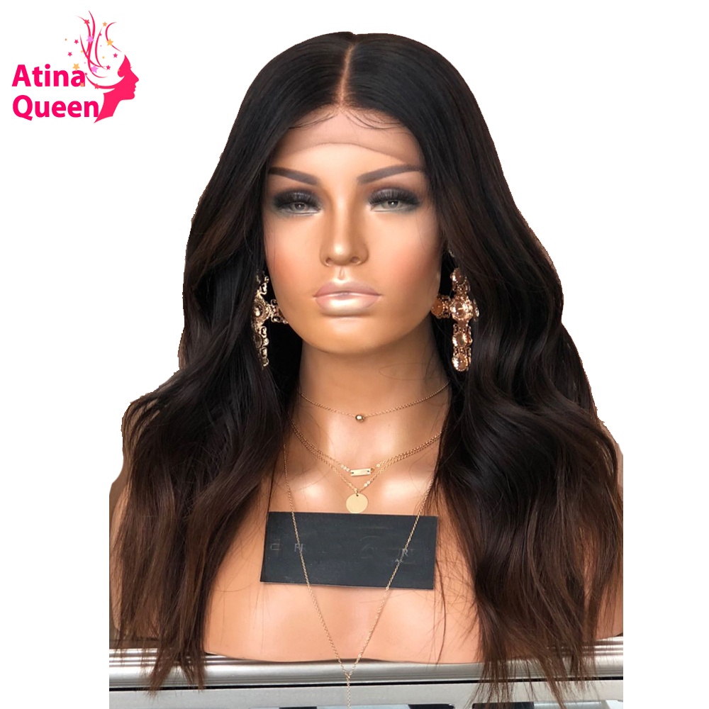 Atina Queen Peruvian Body Wave Lace Front Human Hair Wigs Remy 150 Density Pre Plucked Ombre
