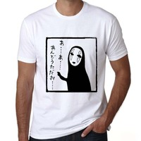 2017 Japanese Anime Spirited Away T Shirt Men Studio Ghibli Mask No Face Tees Short Sleeves