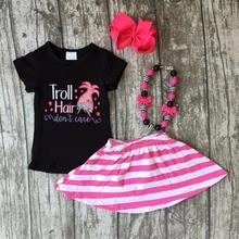 Nouvelle arrivée d'été noir rayé bébé Filles Troll cheveux ne pas soins jupe tenues coton robe ensemble boutique accessoires assortis