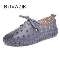 2018 New Cowhide Pure Hand Stitched Soft Bottom Leather Shoes Women Hole Round Flat With Breathable