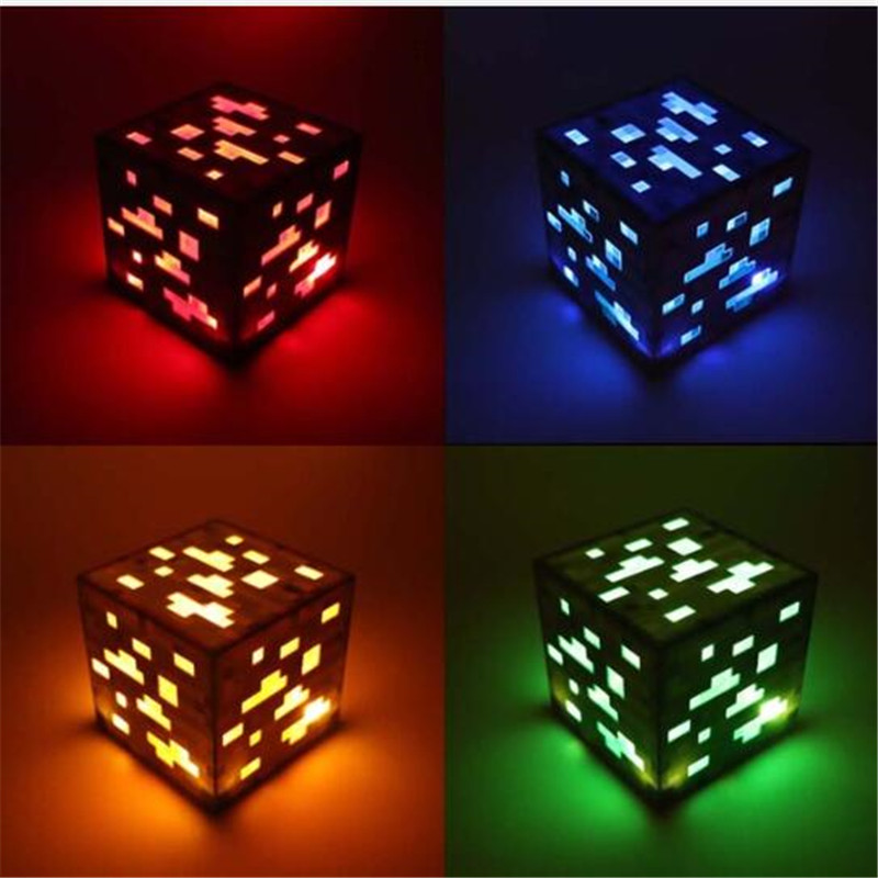 Original Light Up Craft Torch Lamp Hand Held Or Wall Mount Lighting Ore Blue Stone Diamond Square Night Lights Kids Gift