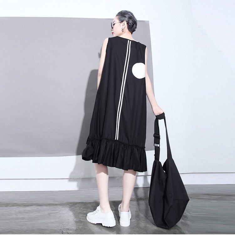 2018 estilo coreano mujeres del verano vestido negro sol grandes - Ropa de mujer - foto 2