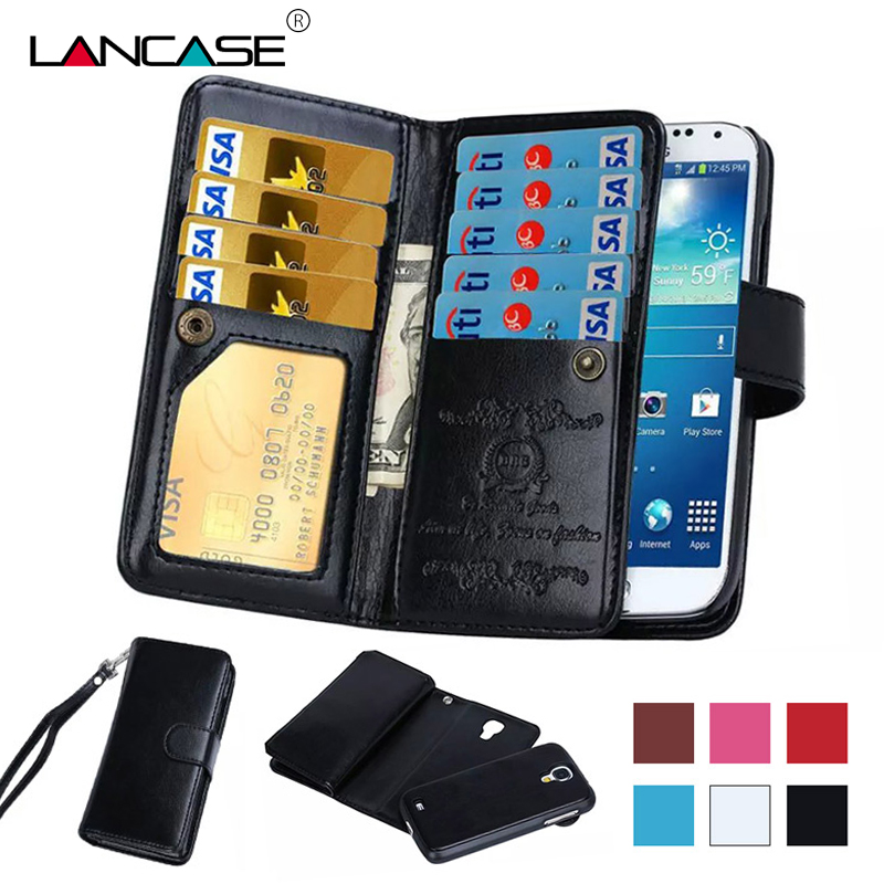 Galleria fotografica LANCASE For Samsung Galaxy S7 Case Flip Detachable Magnetic Card PU Leather Wallet Case For Samsung Galaxy S7 Edge S6 S6 Edge S5