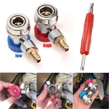 R134A Quick Connector Fitting Hose Port Adapter Auto Car Air Conditioning Metal 2pcs car 1 4sae to 5 16sae refrigeration adapter connector adaptor for r410a gauges hose air conditioning connector