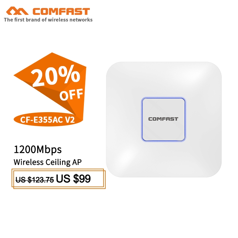 comfast cf e320n 300mbps ceiling ap 802 11b g n wireless ap wifi coverage router 16 flash wifi access point add 48v poe power COMFAST Wireless AP CF-E355AC V2 1200Mbps Ceiling AP 802.11AC Indoor AP WIFI router 48V POE Power 16 Flash WiFi Access Point AP
