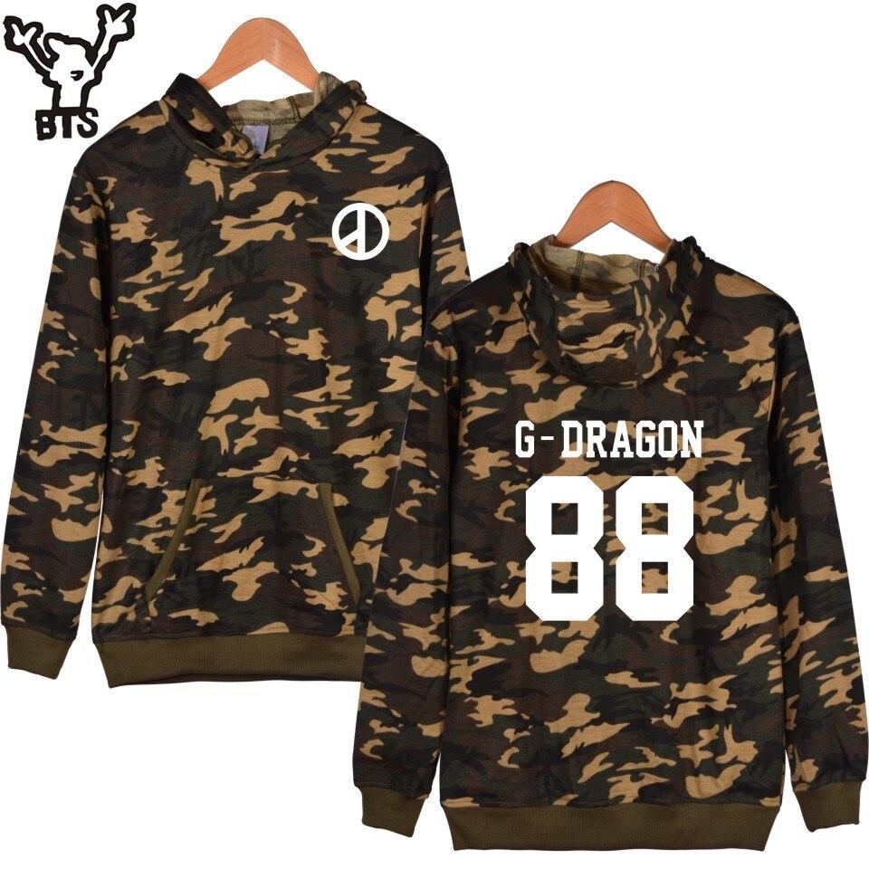 BTS Bigbing Camouflage Hooded Sweatshirt Women Korean Kpop Autumn GD D-dragon Kpop White Hoodies Women Winter Hip Hop Clothes