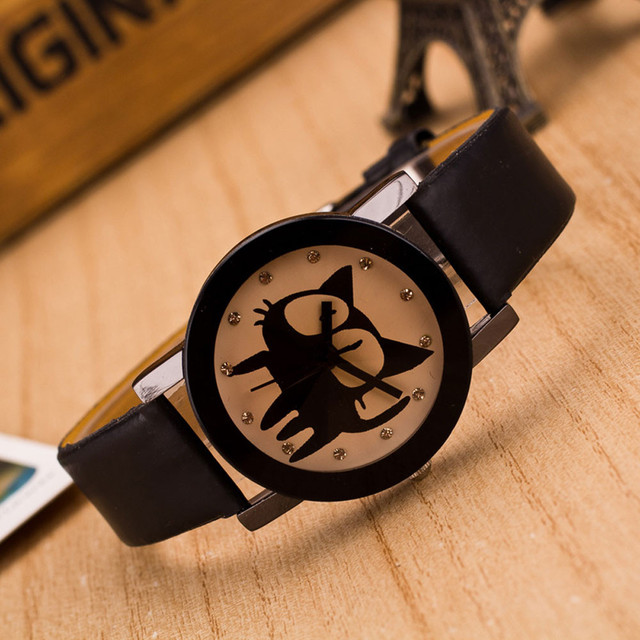 brixini.com - The Black Kitty Wrist Watch