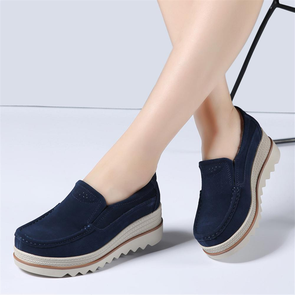 2018 Spring Women Thick Bottom Flats Platform Sneakers Shoes   Leather     Suede   Casual Shoes Slip On Heels Creepers Moccasins Female