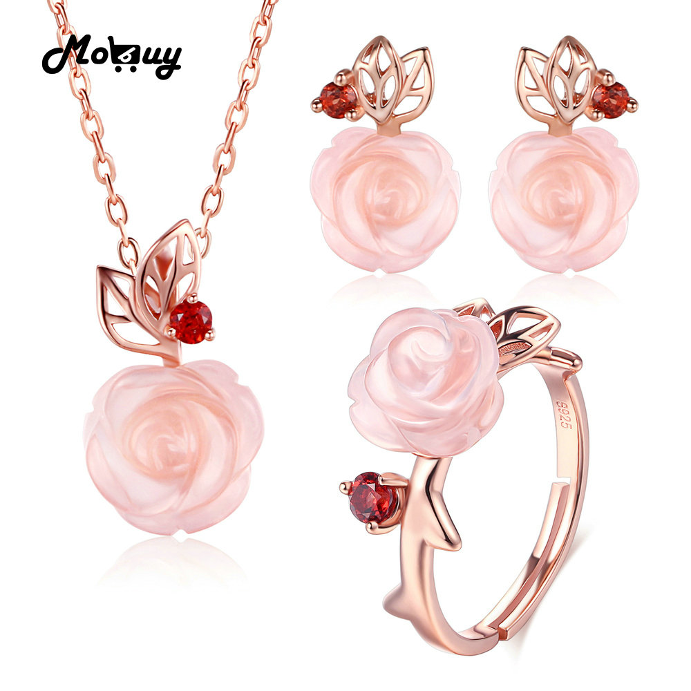 MoBuy Pink Flower 100% 925 Sterling Silver Jewelry Sets For Women Natural Gemstone Rose Quartz Wedding Jewelry For Women V033ENRMoBuy Pink Flower 100% 925 Sterling Silver Jewelry Sets For Women Natural Gemstone Rose Quartz Wedding Jewelry For Women V033ENR