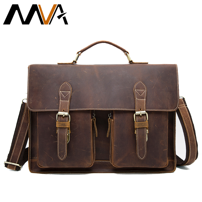 0885a5c4931b MVA Crazy Horse bag men s genuine leather Briefcase male Totes Messenger  Bags Business Laptop bag for men briefcases 9033
