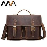 MVA Crazy Horse bag men's genuine leather Briefcase male Totes Messenger Bags Business Laptop bag for men briefcases 9033
