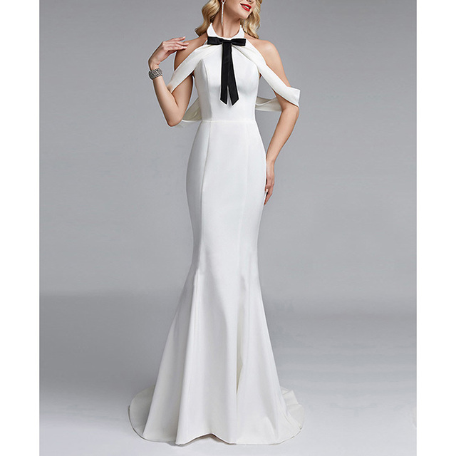 0749014220 Elegant White Women Long Dress Office Lady Formal Evening Party Dresses Bow  Backless Ceremony Female Summer