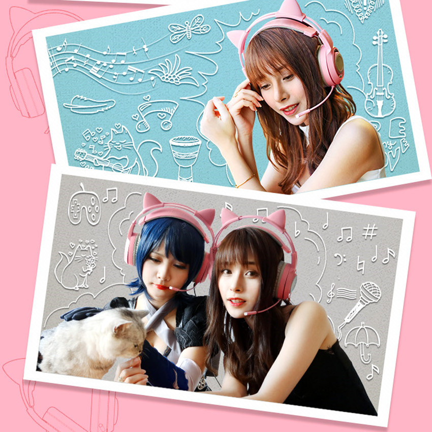 SOMIC G951 USB 7 1 Headset Surround Sound Gaming Headphone Bass Casque with Cat Ear Mic vibration for PC Notebook Pink kids Girl in Headphone Headset from Consumer Electronics