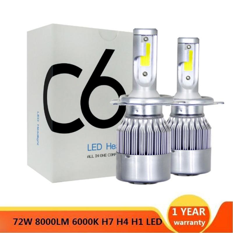 Elglux  Super Bright Auto Car H11 H7 H4 H1 LED Headlights 6000K Cool White 72W 7600LM COB Bulbs  Diodes Automobiles Parts Lamp