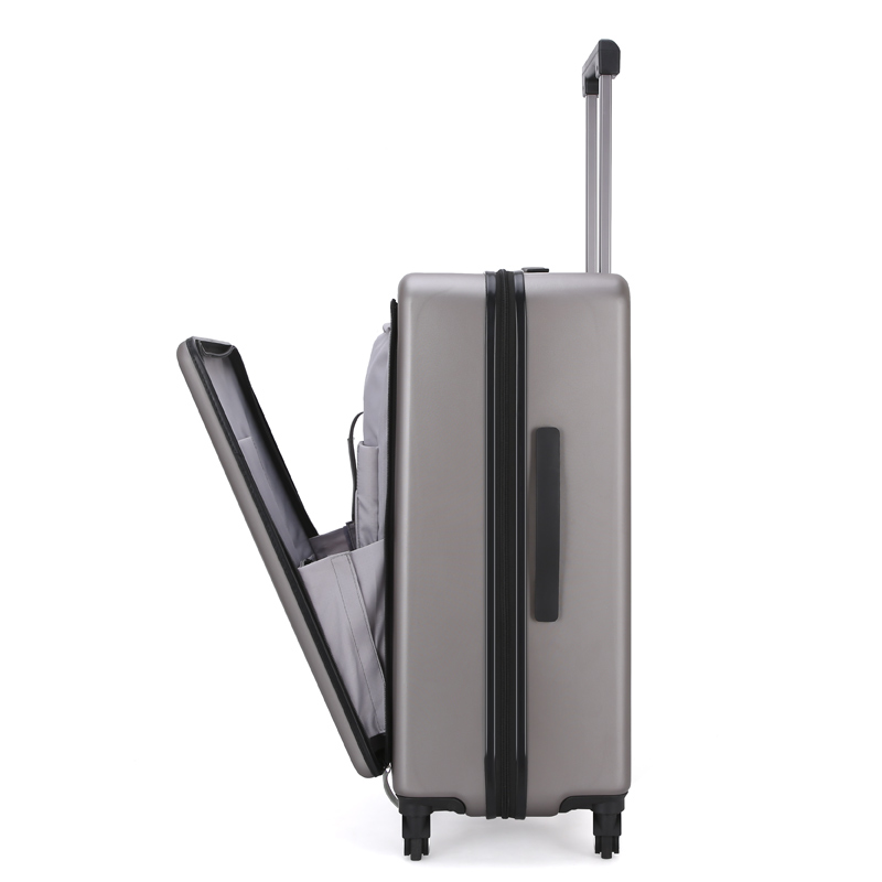 Business suitcase male 20 24 boarding trolley case female front zipper computer bag luggage TSA lock universal wheel suitcase