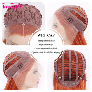 Image 5 - Imstyle Auburn Oranje Pruiken Lange Golvende Synthetische Lace Front Pruiken Voor Vrouwen Gratis Deel Hittebestendige Vezel Lijmloze Dames Pruik