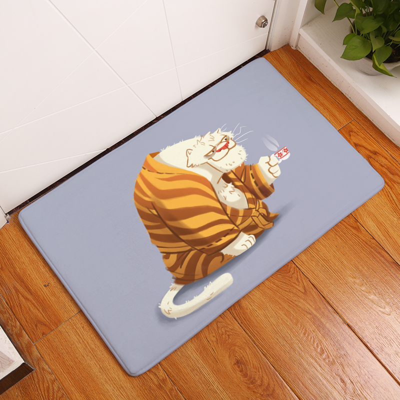 Cartoon Flannel Carpet Cats Printing Mat For Living Room 40x60cm     Cartoon Flannel Carpet Cats Printing Mat For Living Room 40x60cm 50X80cm  Door mat Rectangle Tapete   us138