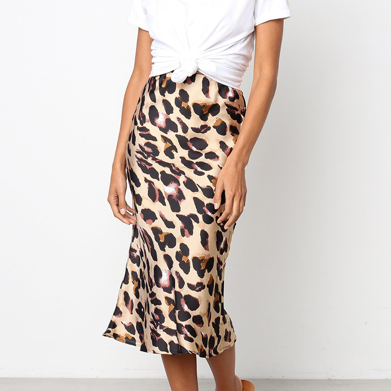 Fashion High Waist Leopard Print Skirts Silk Satin Ladies Midi Skirt Jupe Longue Femme New Arrival Sexy Wrap Skirt Women silk