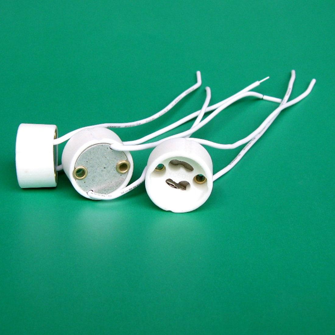 New Brand 10PCS LED Strip Connector GU10 Socket For Halogen Ceramic Light Bulb Lamps Holder Base Wire Connector Lamp Holder