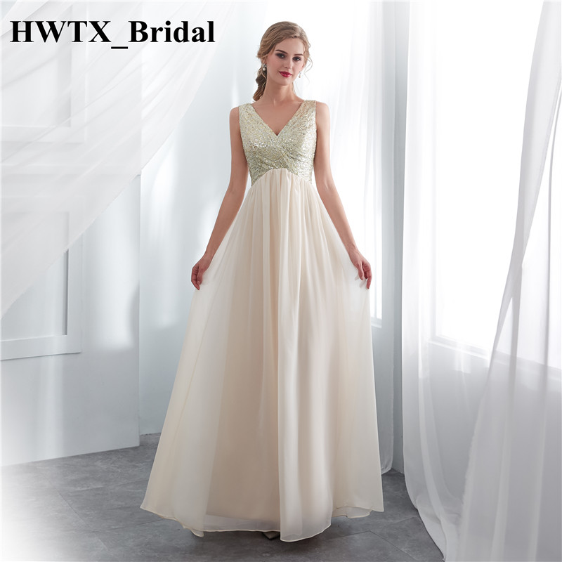 Long   Bridesmaid     Dresses   For Women 2018 Puffy A Line Champange Chiffon Floor Length Prom   Dress   New Plus Size Maid Of Honor Gowns
