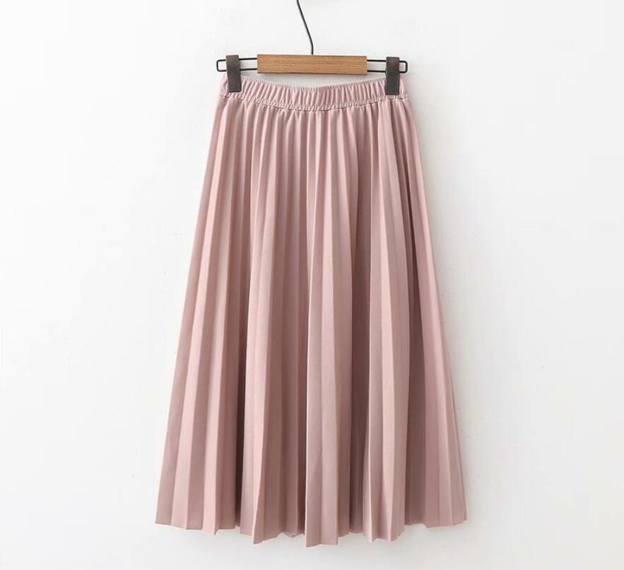 Image 4 - 2019 Spring Summer Women High Waist Skirt Solid Color Pleated Skirt Women Causal Midi Skirts-in Skirts from Women's Clothing