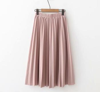 2020 Spring High Waist Pleated Skirt Women Black Causal Midi Skirts Plus Size Elastic Waist 6