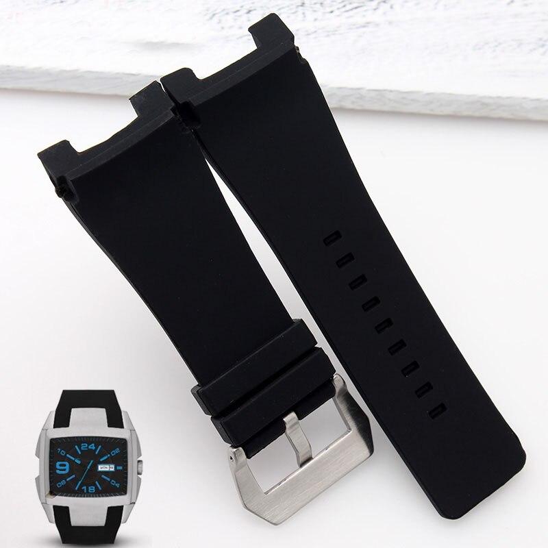 32x17mm de goma de silicona de correas de reloj de acero inoxidable Pin  broche Diesel DZ1216 DZ4246 DZ1215 reloj de los hombres Accesorios bandas +  ... 60446cafc916