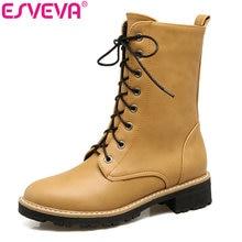 ESVEVA/ г. теплые женские короткие плюшевые ботинки на среднем квадратном каблуке ботинки до середины икры круглый носок желтый мотоциклетные ботинки на шнуровке Размеры 34–43