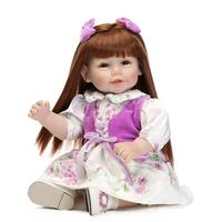 20 inches Accessories 52cm long hair lifelike soft silicone reborn baby doll in Nice dress playing toys birthday present for kid