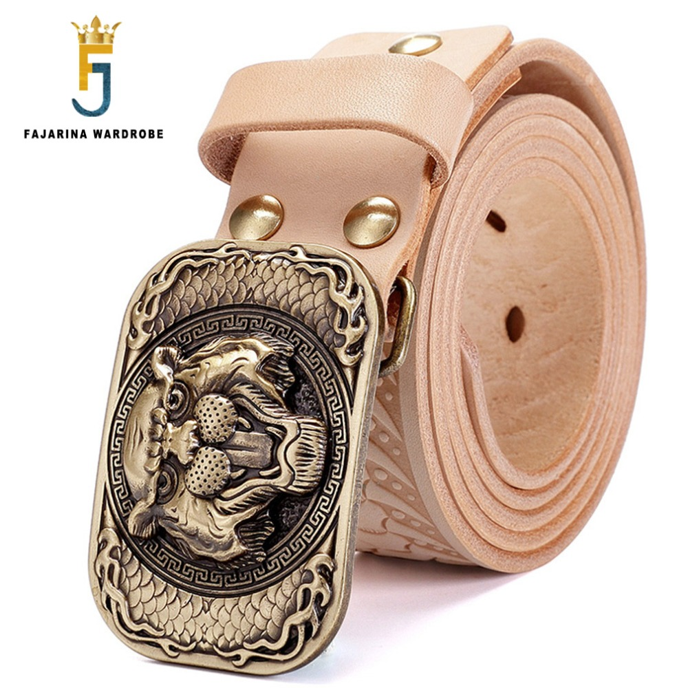 FAJARINA Top Quality Men s Retro Styles Belts Brass Tiger Smooth Buckle Novelty Unique Design Belt