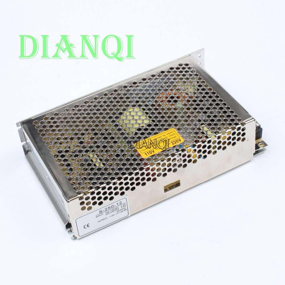 DIANQI S-250-12 led power supply switch 250W  12v  20A ac dc converter  power supply unit   12v variable dc voltage regulator s 200 9 led power supply switch 200w 9v 22 2a unit ac dc converter 9v variable dc voltage regulator adjustable output voltage