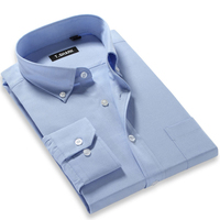 New 2015 Fall Fashion Mens Dress Shirts Long Sleeved Solid Color Button Down Regular Fit Business