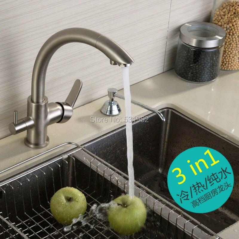 Hohe Qualität Aus Massivem Messing Nickel Gebürstet Küchenarmatur Tri Fluss gefiltert Sink Mixer 3 Weg Waschbecken Wasserhahn 2017 Neue Arriave