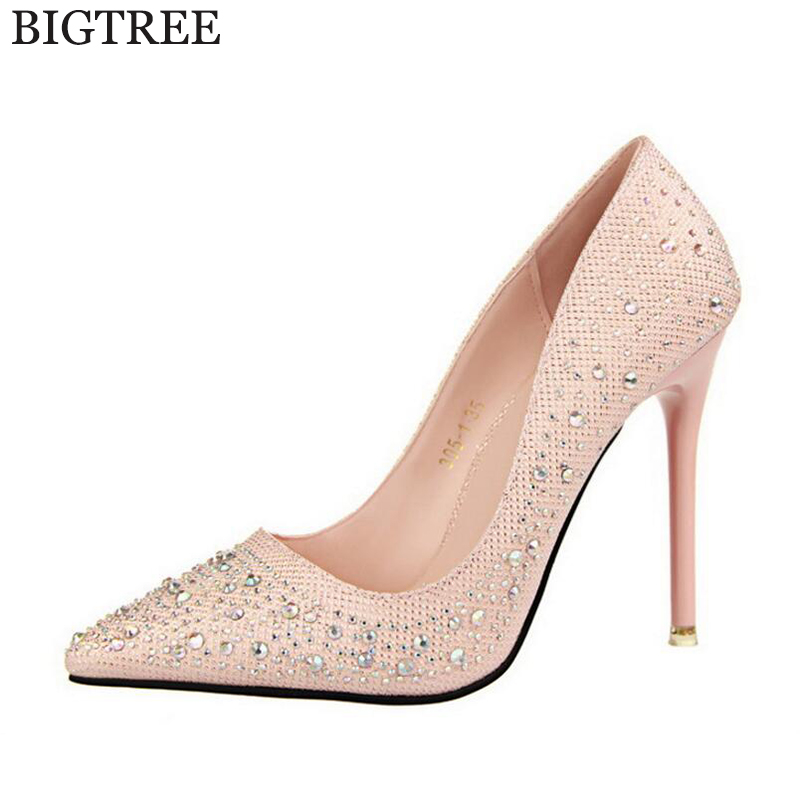 BIGTREE 2017  Fashion Sexy Women Silver Rhinestone Wedding Shoes Platform Pumps High Heels Crystal Shoes zapatos mujer s286