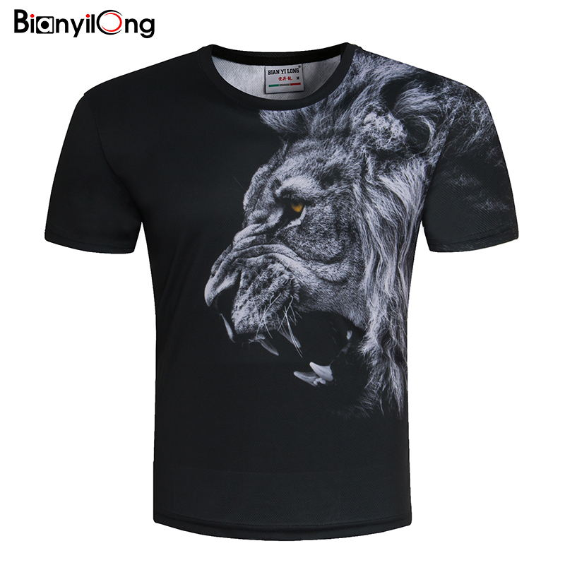 BIANYILONGNew Fashion Men/Women   T  -  shirt   3d lion Print Designed Stylish Summer   T     shirt   Brand Tops Tees Plus Size M-5XL