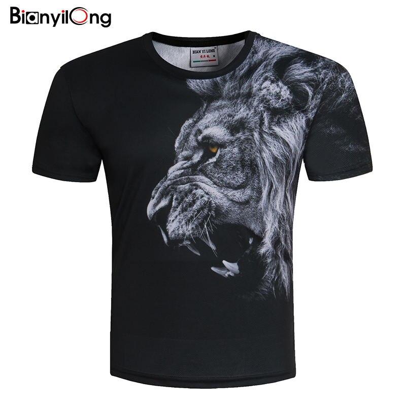 BIANYILONGNew Moda Dos Homens/Mulheres T-shirt 3d Impressão leão Projetado Elegante camiseta Da Marca de Verão Tops Tees Plus Size M-5XL