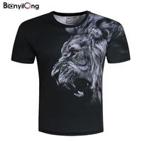 BIANYILONGNew Fashion Men Women T Shirt 3d Lion Print Designed Stylish Summer T Shirt Brand Tops