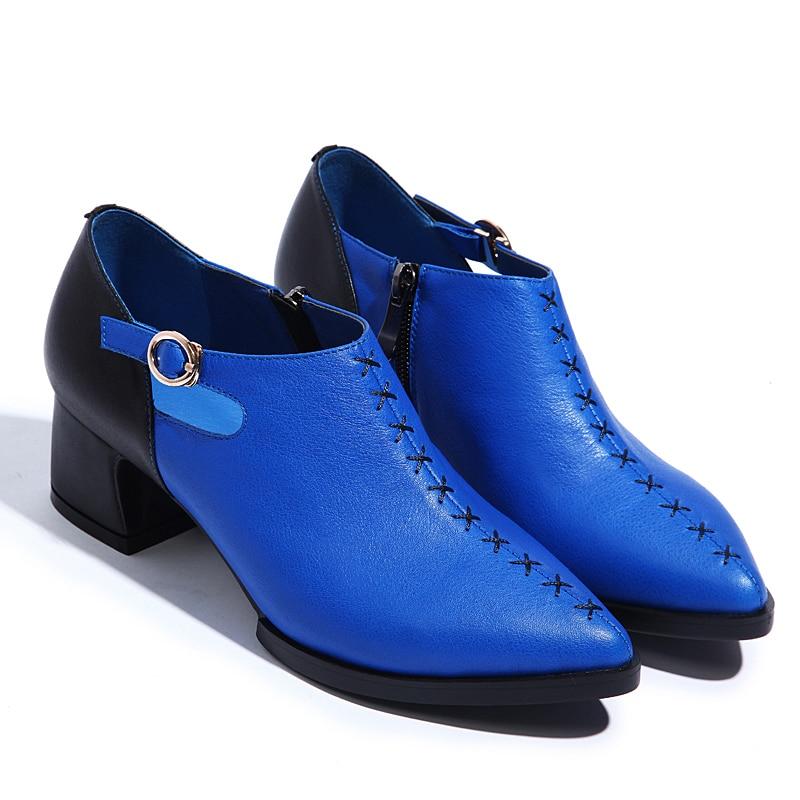 Gruesos Cremalleras Tacón La Shoes Pu Costura Alto Femenino blanco Zapatos Hebilla Británico Designer Azul Casual Señaló Plataforma Verano De 2016 Retro Con Cuero wqFfXSA