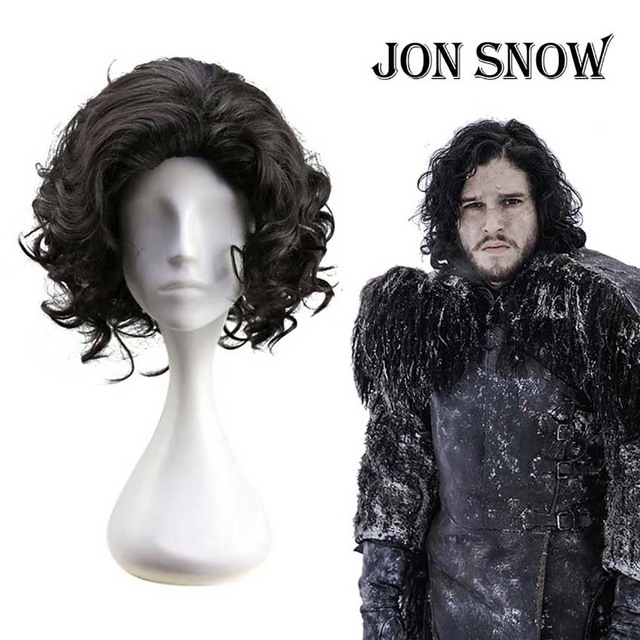 Game of Thrones Jon Snow Cosplay Wig Black Short Curly Fluffy Hair Medieval Knight King Fancy Dress Wig Adult Men