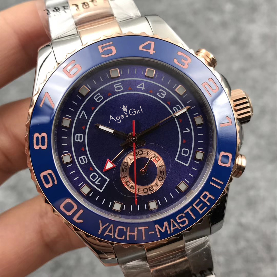 Luxury Brand New Men Automatic Mechanical Blue Ceramic Bezel Stainless Steel GMT Rose Gold Silver Watch Sapphire Black YACHT