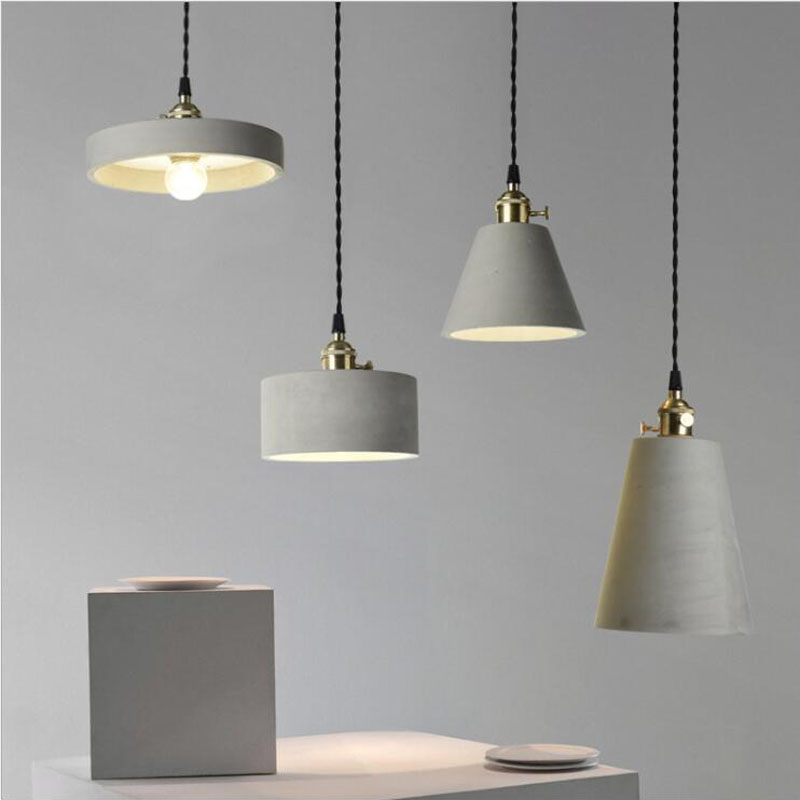 L Retro industrial style imitation cement chandelier creative bar clothing store living room personality simple single head lamp single head screw caps big industrial style hotel individuality clothing store decoration edison light bulb shop gold chandelier