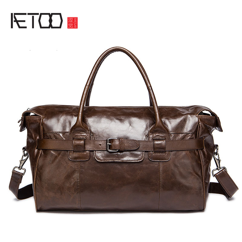 AETOO Leather bags Europe and the United States leather travel handbags large capacity men luggage bag short trip travel bag aetoo europe and the united states fashionable women s bag new leather ladies handbag large capacity diagonal shoulder bag