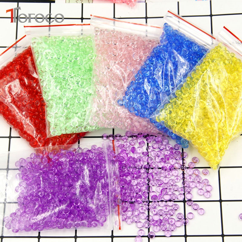 TOFOCO 75g/bag Clear Slime Flat Bead Transparent DIY Handmade Crystal Mud Mixture Particles Accessories Slime Filling Decoration handmade luminous feather bead dreamcatcher decoration