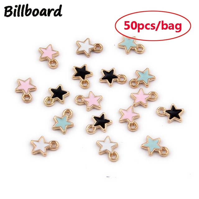 Enamel Charms for Jewelry Making Floating Charms for Living Lockets Zinc Alloy Metal Trendy Mini Star 50pcs/bag Charm Diy Clip