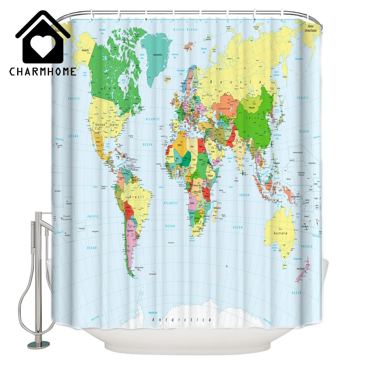Mainstays World Map Peva Shower Curtain 1 Each Walmart Com