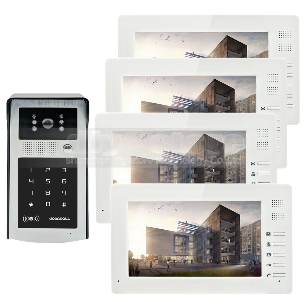DIYSECR 7inch 1024 x 600 TFT LCD Screen Video Door Phone Video Intercom Doorbell 300000 Pixels RFID Reader + Password HD Camera diysecur 1024 x 600 7 inch hd tft lcd monitor video door phone video intercom doorbell 300000 pixels night vision camera rfid