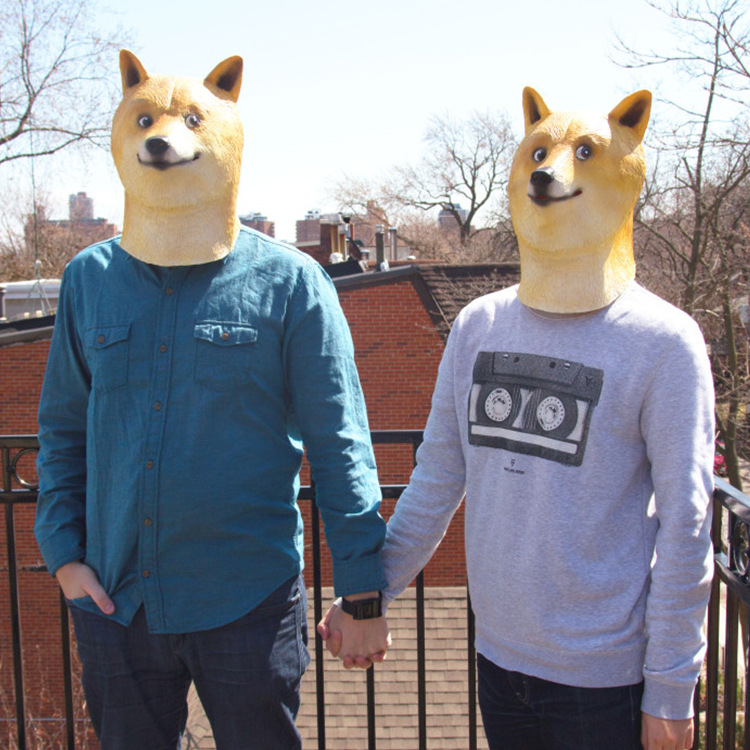 1pc Funny Vinyl Doge Fox Full Head Mask Cospaly Masquerade Dress Up on