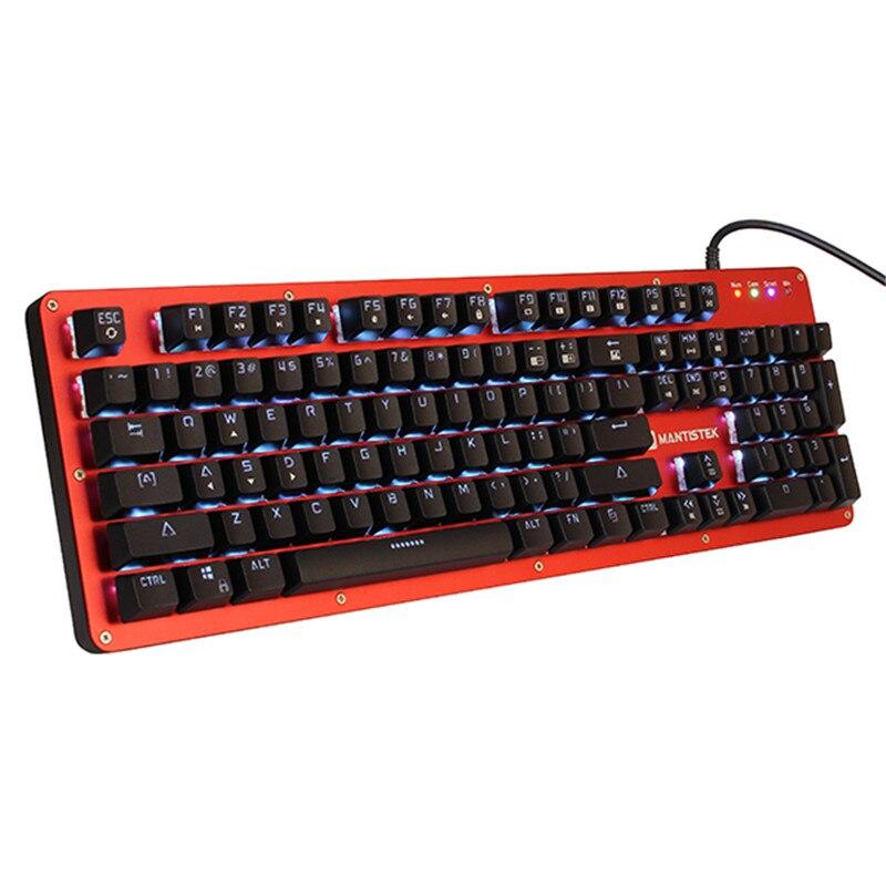 Mantistek gk2 механическая клавиатура 104 ключей NKRO RGB синий и красный цвета чёрный; коричневый переключатель компьютерных игр клавиатура со свето...