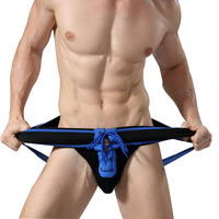 Adult Sexy Open Crotch G Strings Underwear Tanga Hombre Lace Up Jockstrap Gay Men Thong Underwear